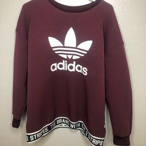 Adidas Maroon Crew Neck Sweatshirt